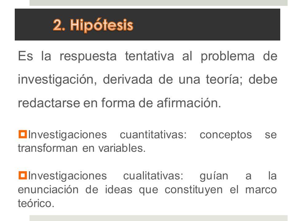 2. Hipótesis Es la respuesta tentativa al problema de investigación, derivada de una teoría; debe redactarse en forma de afirmación.