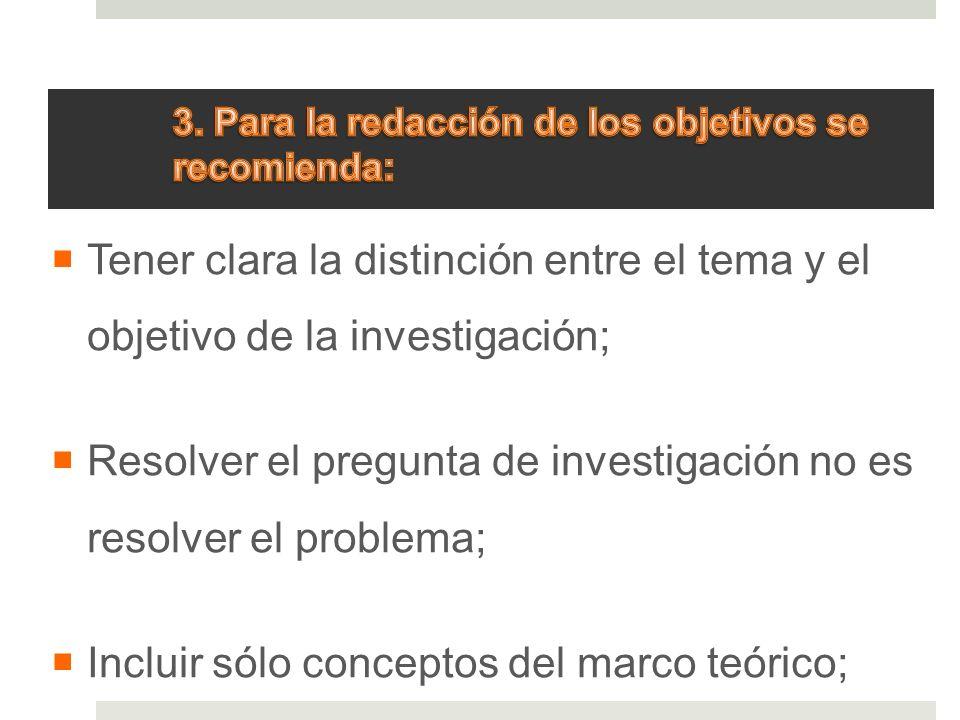 3. Para la redacción de los objetivos se recomienda: