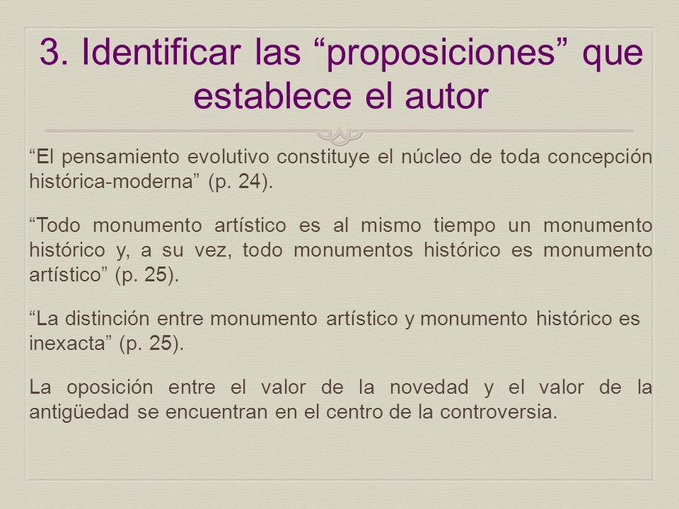 3. Identificar las proposiciones que establece el autor