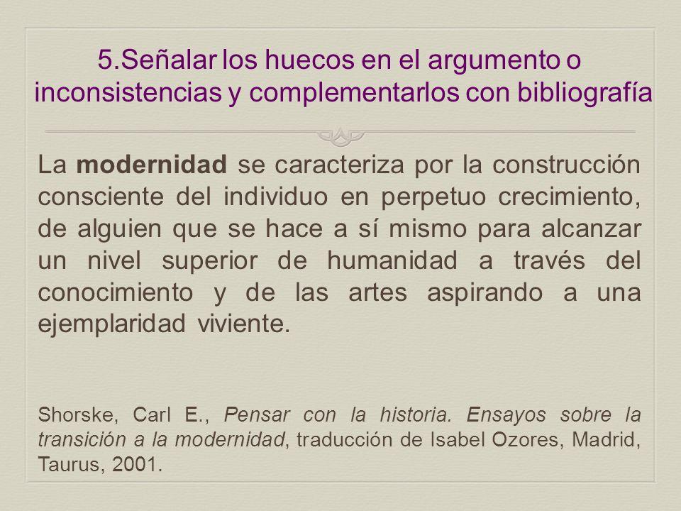 5.Señalar los huecos en el argumento o inconsistencias y complementarlos con bibliografía