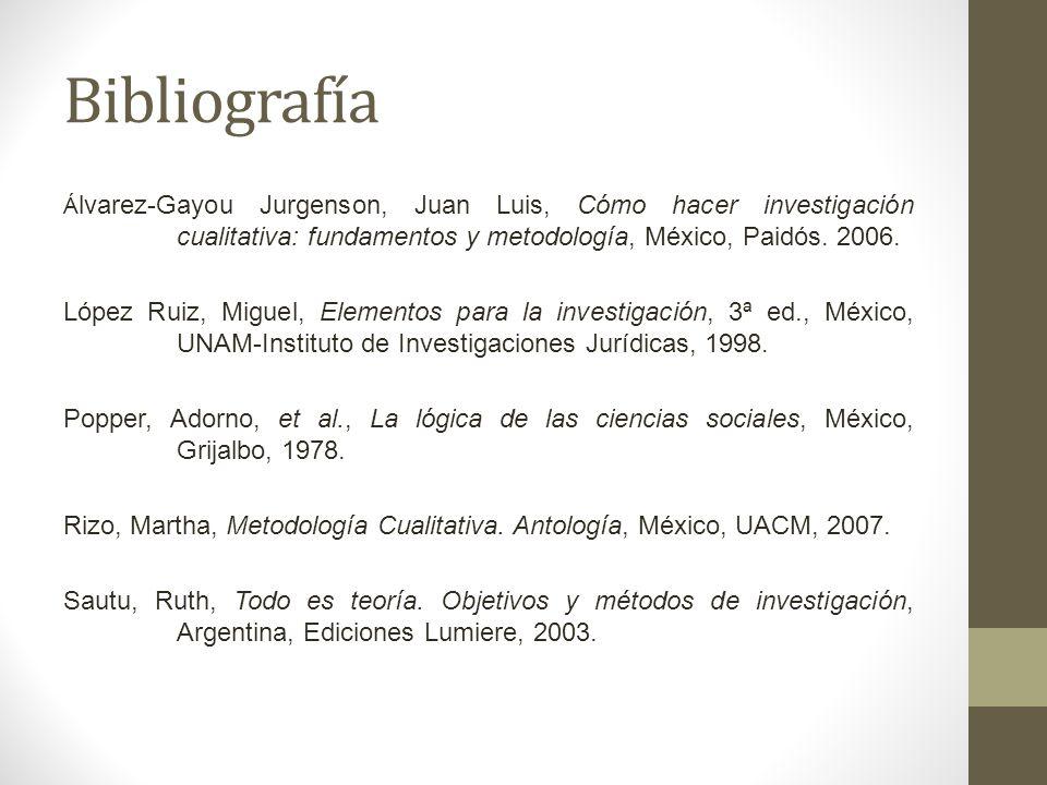 BibliografíaÁlvarez-Gayou Jurgenson, Juan Luis, Cómo hacer investigación cualitativa: fundamentos y metodología, México, Paidós. 2006.