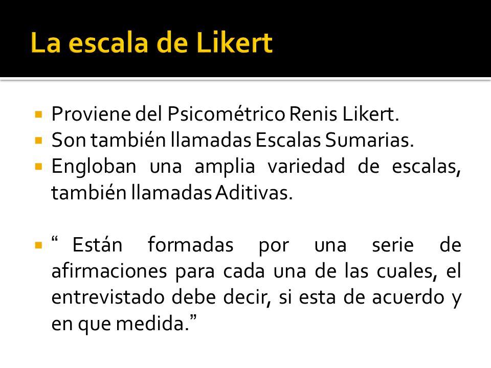La escala de Likert Proviene del Psicométrico Renis Likert.