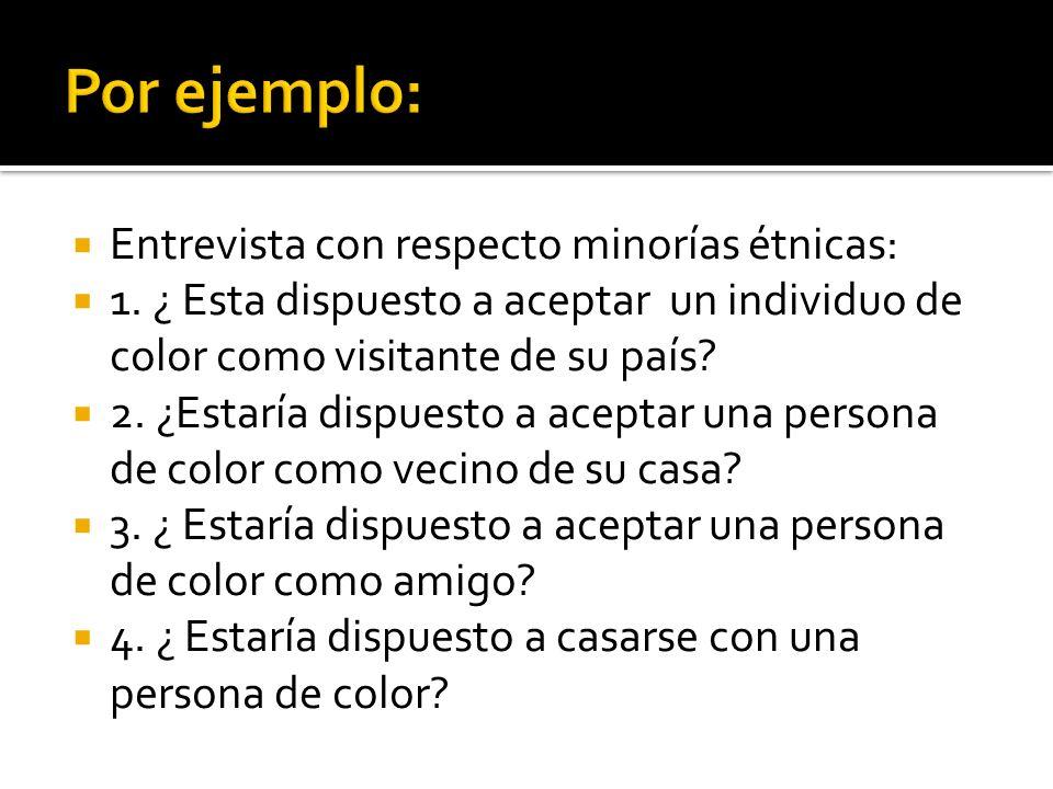 Por ejemplo: Entrevista con respecto minorías étnicas: