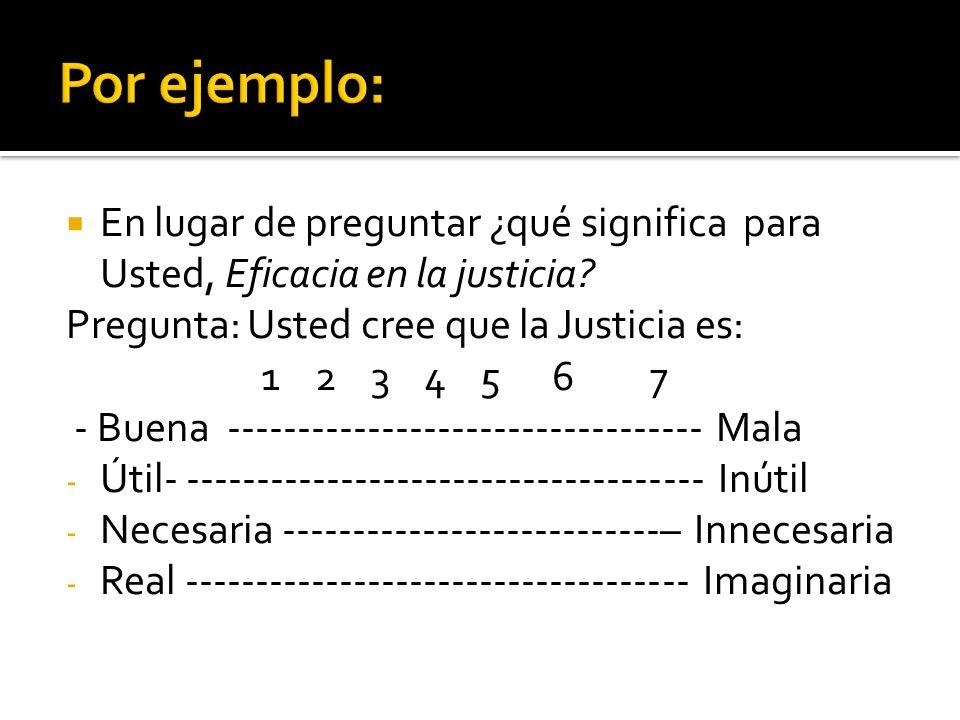 Por ejemplo: En lugar de preguntar ¿qué significa para Usted, Eficacia en la justicia Pregunta: Usted cree que la Justicia es: