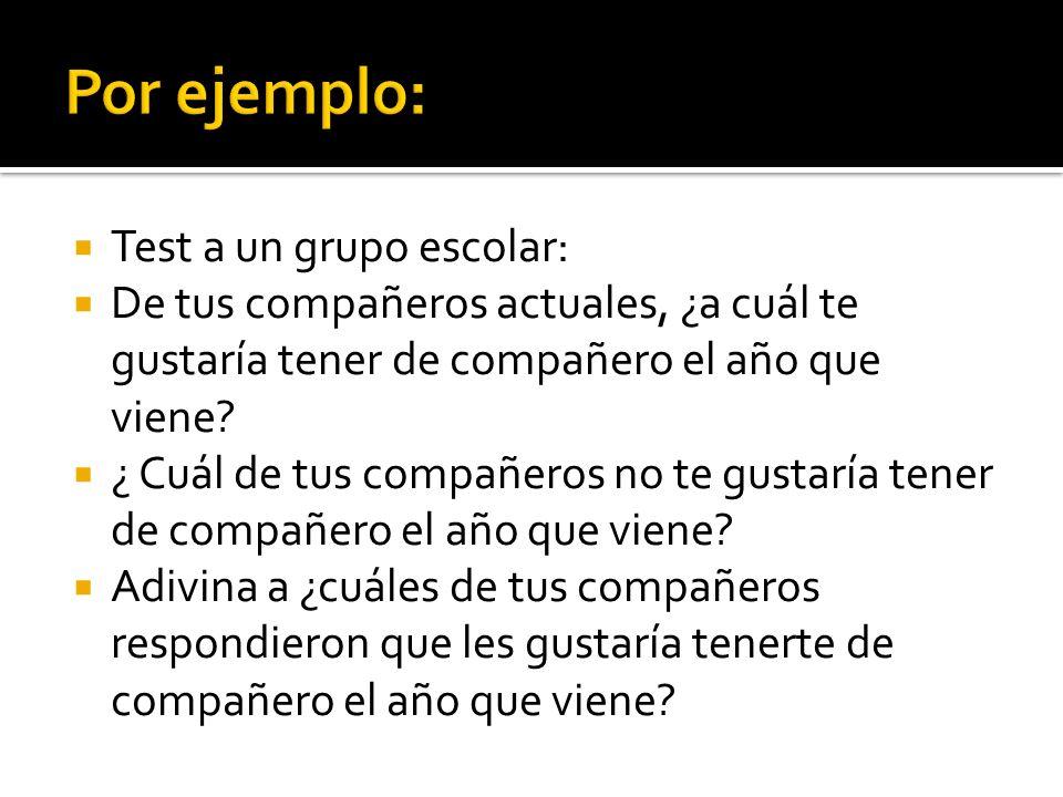 Por ejemplo: Test a un grupo escolar: