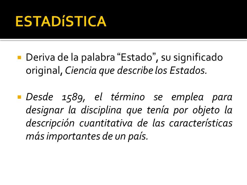 ESTADíSTICADeriva de la palabra Estado , su significado original, Ciencia que describe los Estados.