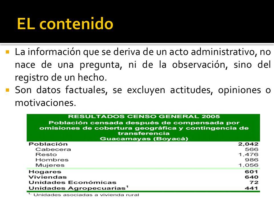 EL contenidoLa información que se deriva de un acto administrativo, no nace de una pregunta, ni de la observación, sino del registro de un hecho.