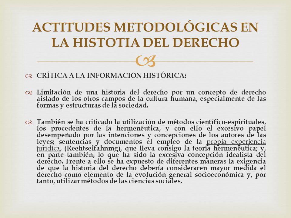 ACTITUDES METODOLÓGICAS EN LA HISTOTIA DEL DERECHO