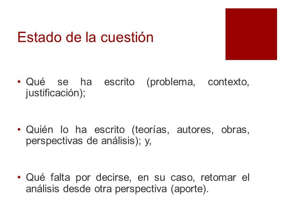 Estado de la cuestión Qué se ha escrito (problema, contexto, justificación);