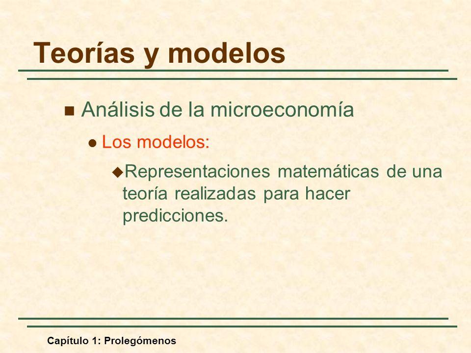 Teorías y modelos Análisis de la microeconomía Los modelos: