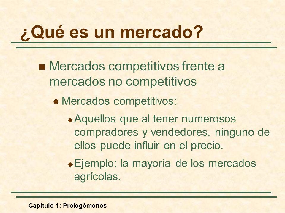 ¿Qué es un mercado Mercados competitivos frente a mercados no competitivos. Mercados competitivos: