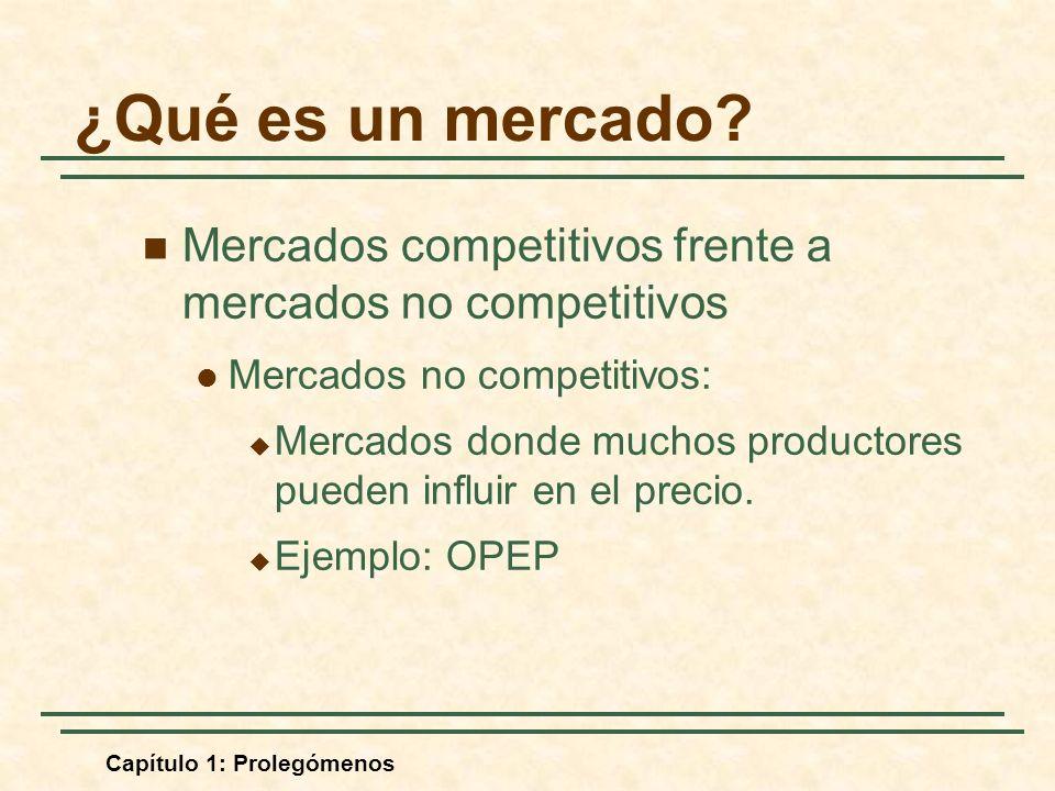 ¿Qué es un mercado Mercados competitivos frente a mercados no competitivos. Mercados no competitivos: