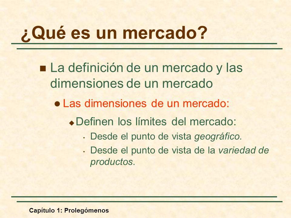 ¿Qué es un mercado La definición de un mercado y las dimensiones de un mercado. Las dimensiones de un mercado: