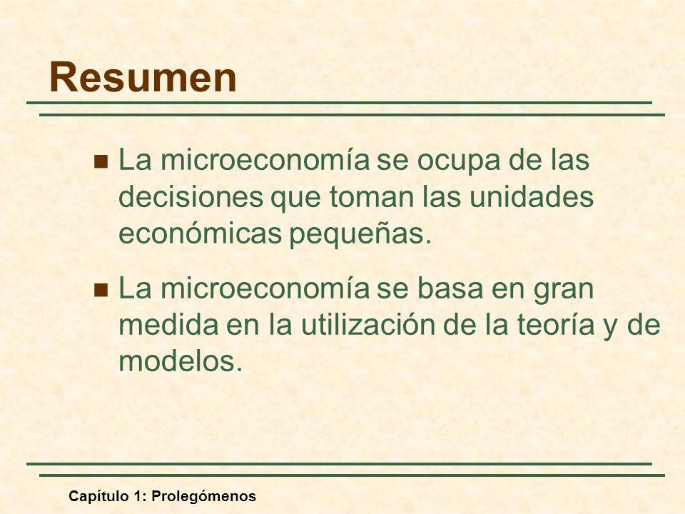 Resumen La microeconomía se ocupa de las decisiones que toman las unidades económicas pequeñas.