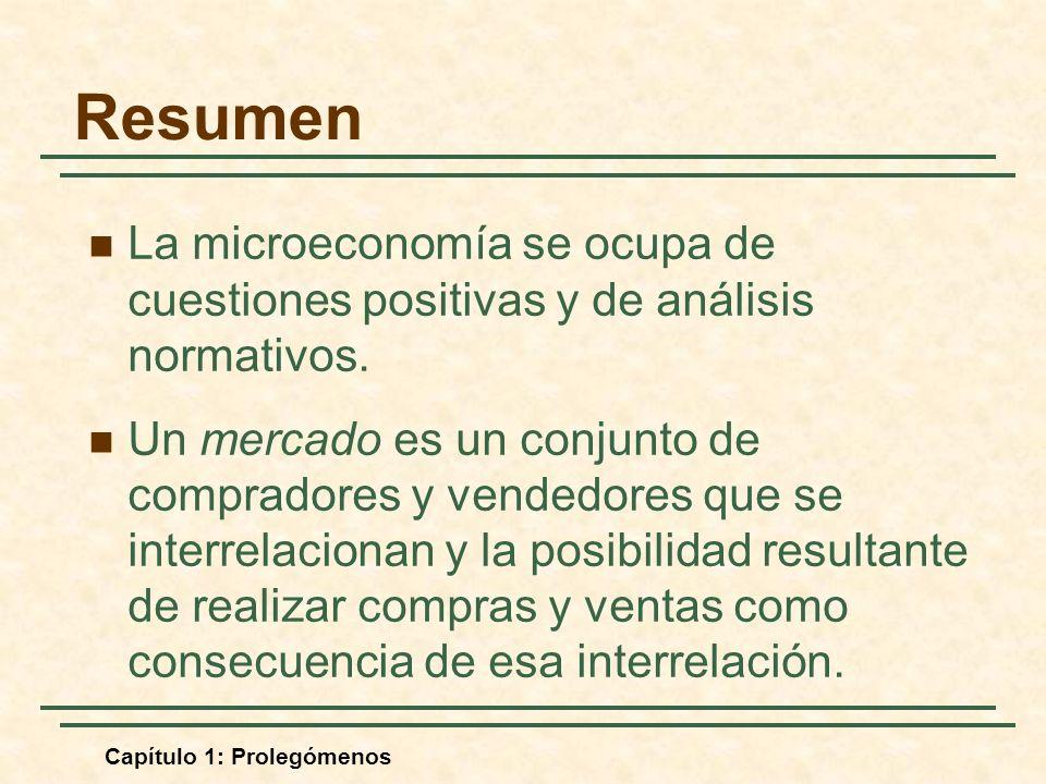Resumen La microeconomía se ocupa de cuestiones positivas y de análisis normativos.