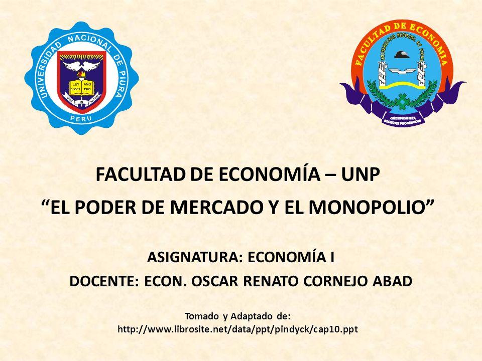 FACULTAD DE ECONOMÍA – UNP EL PODER DE MERCADO Y EL MONOPOLIO
