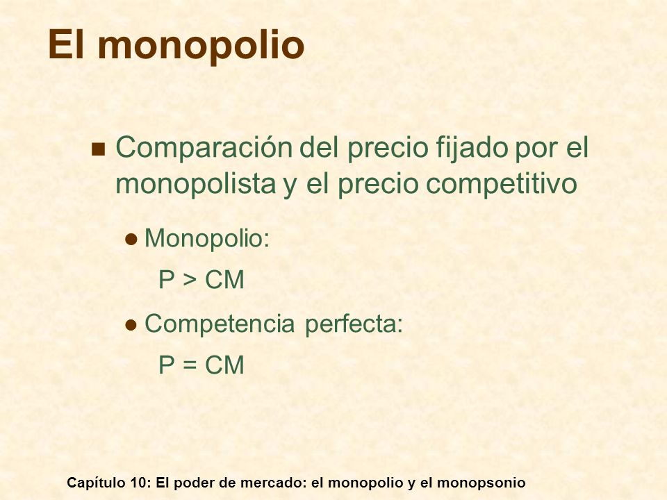 El monopolio Comparación del precio fijado por el monopolista y el precio competitivo. Monopolio:
