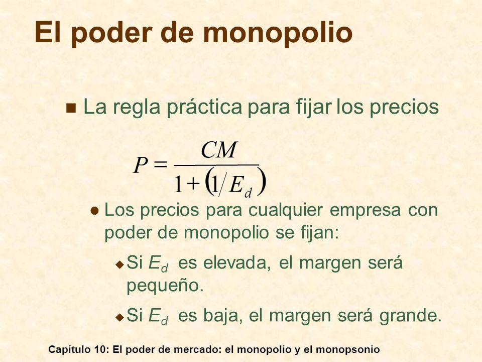 ( ) El poder de monopolio CM P = 1 + 1 E