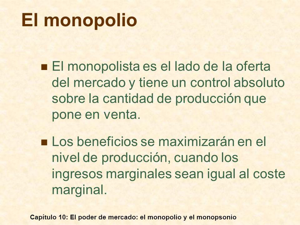 El monopolio El monopolista es el lado de la oferta del mercado y tiene un control absoluto sobre la cantidad de producción que pone en venta.