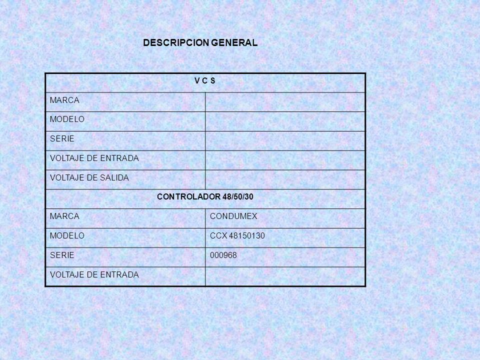 DESCRIPCION GENERAL V C S MARCA MODELO SERIE VOLTAJE DE ENTRADA