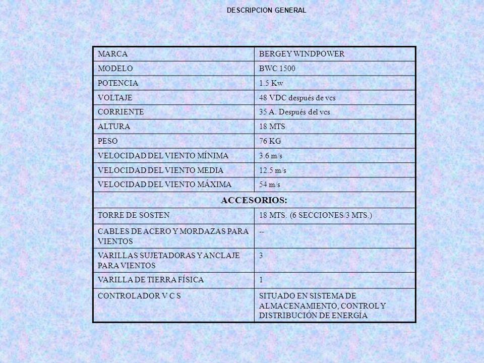 ACCESORIOS: MARCA BERGEY WINDPOWER MODELO BWC 1500 POTENCIA 1.5 Kw