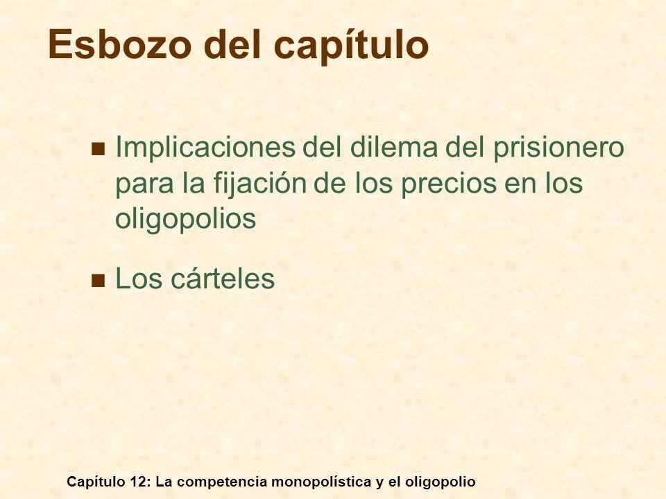 Esbozo del capítulo Implicaciones del dilema del prisionero para la fijación de los precios en los oligopolios.