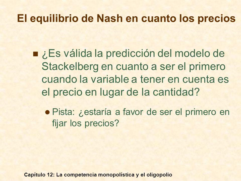 El equilibrio de Nash en cuanto los precios