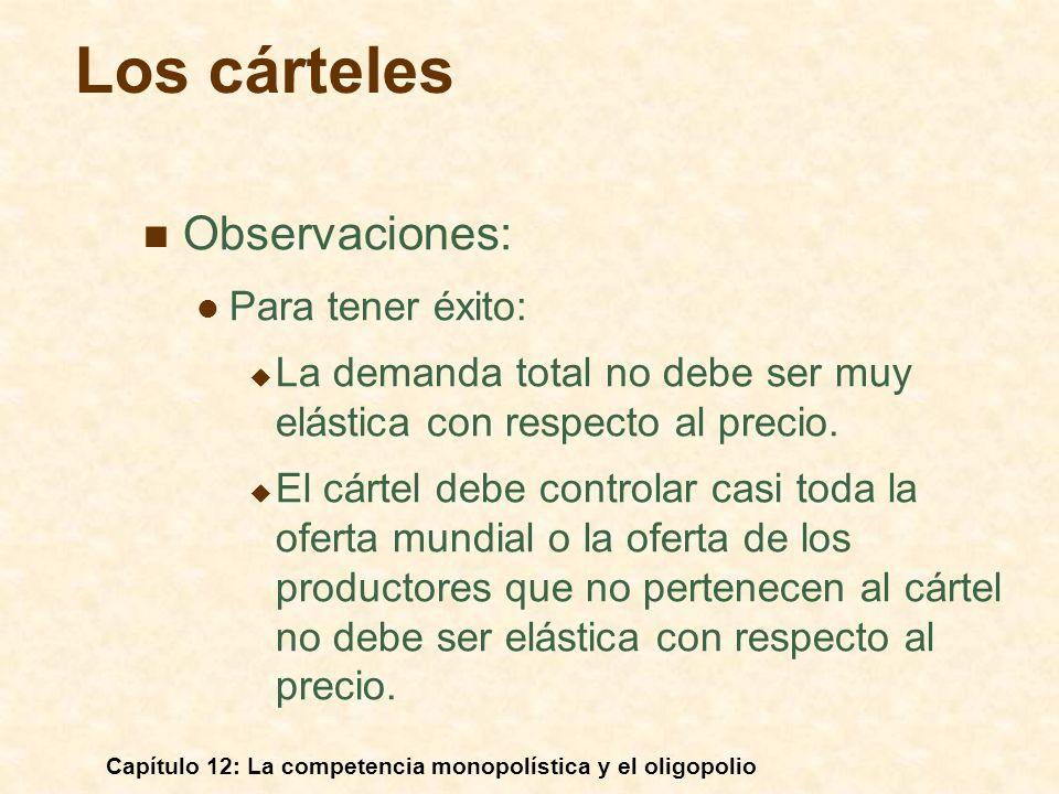 Los cárteles Observaciones: Para tener éxito: