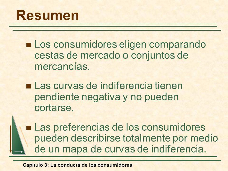 Resumen Los consumidores eligen comparando cestas de mercado o conjuntos de mercancías.
