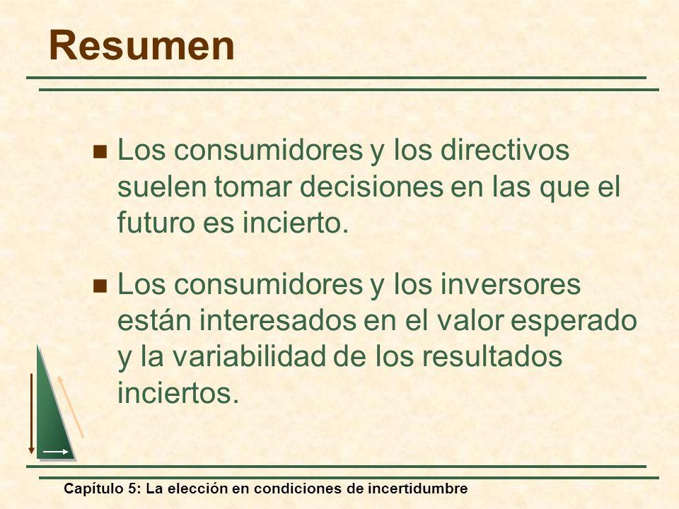 ResumenLos consumidores y los directivos suelen tomar decisiones en las que el futuro es incierto.