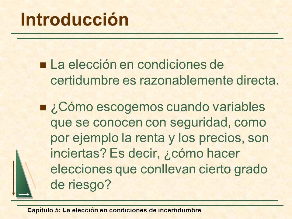 Introducción La elección en condiciones de certidumbre es razonablemente directa.