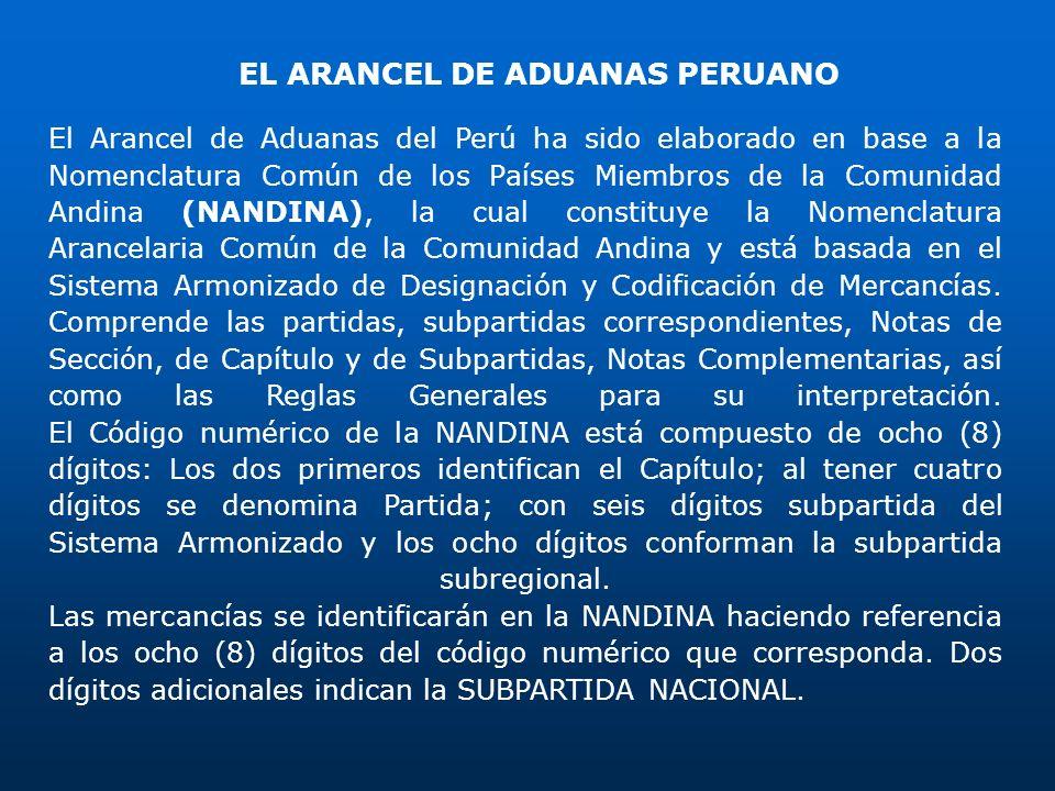 EL ARANCEL DE ADUANAS PERUANO