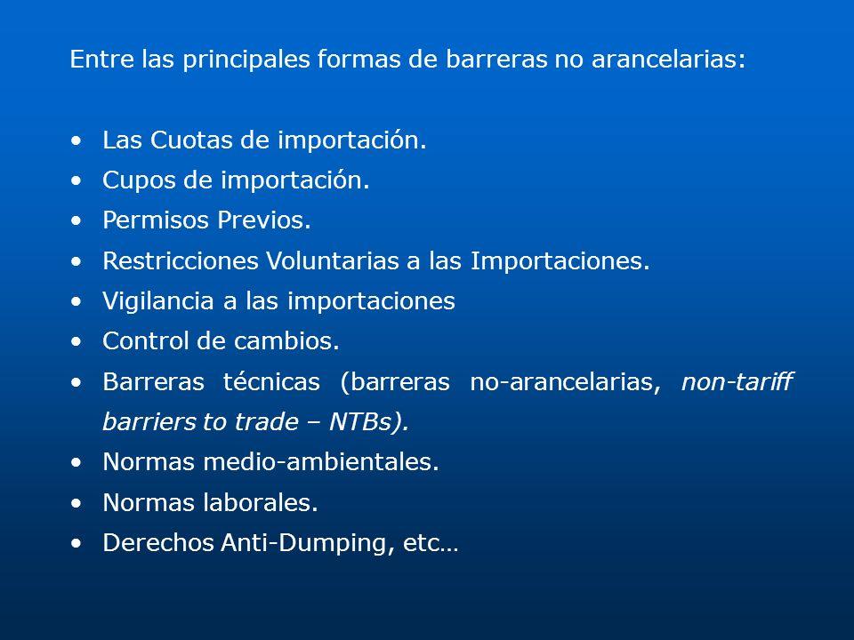 Entre las principales formas de barreras no arancelarias: