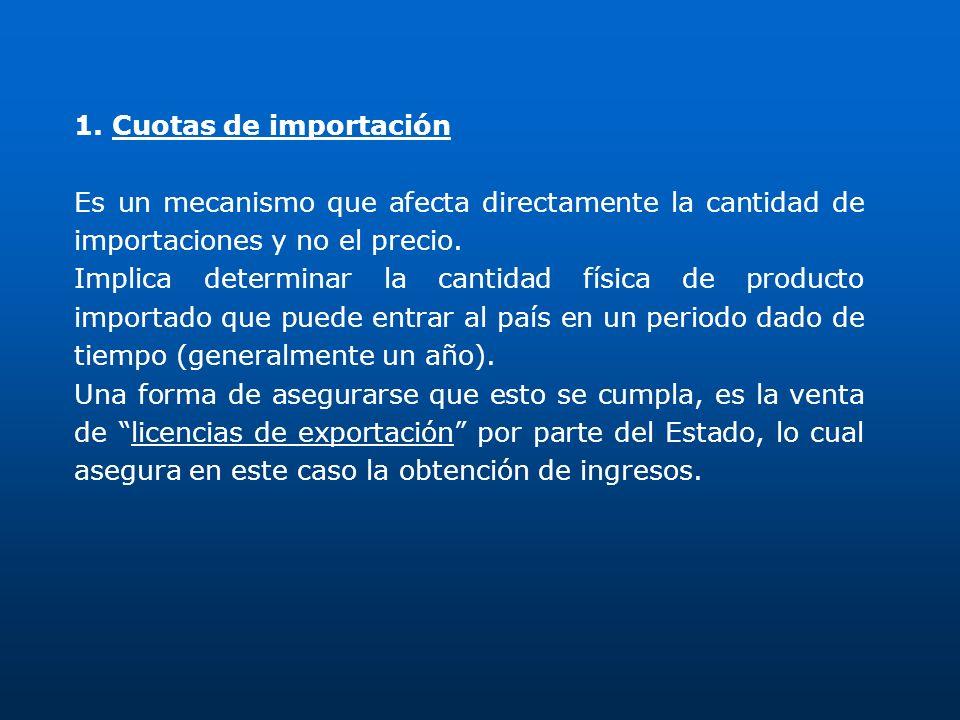 1. Cuotas de importaciónEs un mecanismo que afecta directamente la cantidad de importaciones y no el precio.