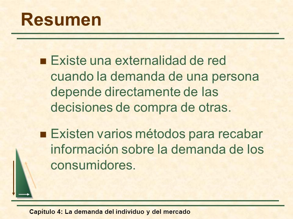 Resumen Existe una externalidad de red cuando la demanda de una persona depende directamente de las decisiones de compra de otras.