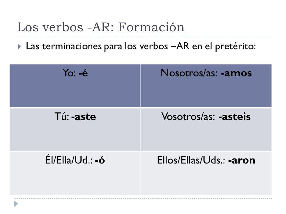Los verbos -AR: Formación
