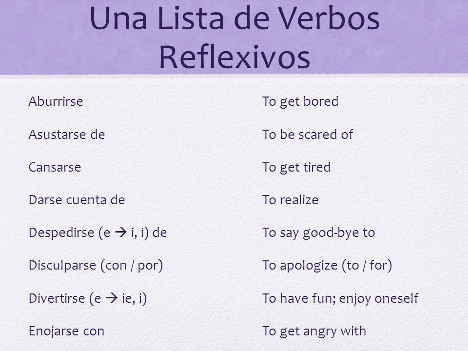 Una Lista de Verbos Reflexivos