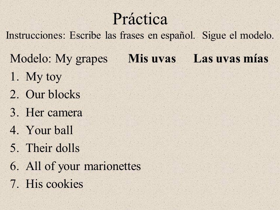 Práctica Instrucciones: Escribe las frases en español. Sigue el modelo.