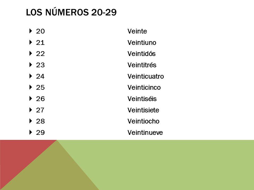Los Números 20-29 20 Veinte 21 Veintiuno 22 Veintidós 23 Veintitrés