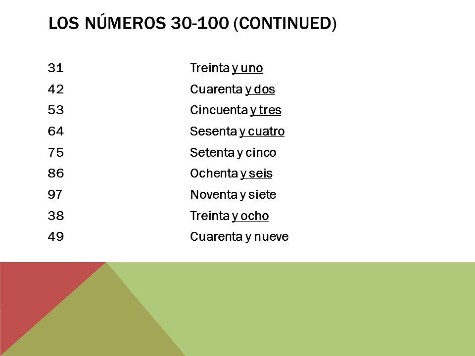 Los Números 30-100 (continued)