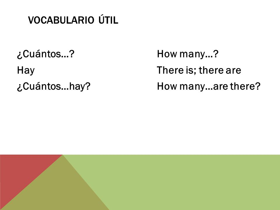 Vocabulario Útil ¿Cuántos… How many… Hay There is; there are ¿Cuántos…hay How many…are there