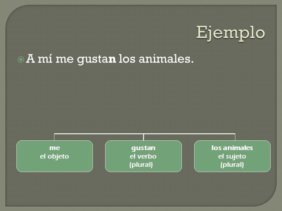 Ejemplo A mí me gustan los animales. me el objeto gustan el verbo