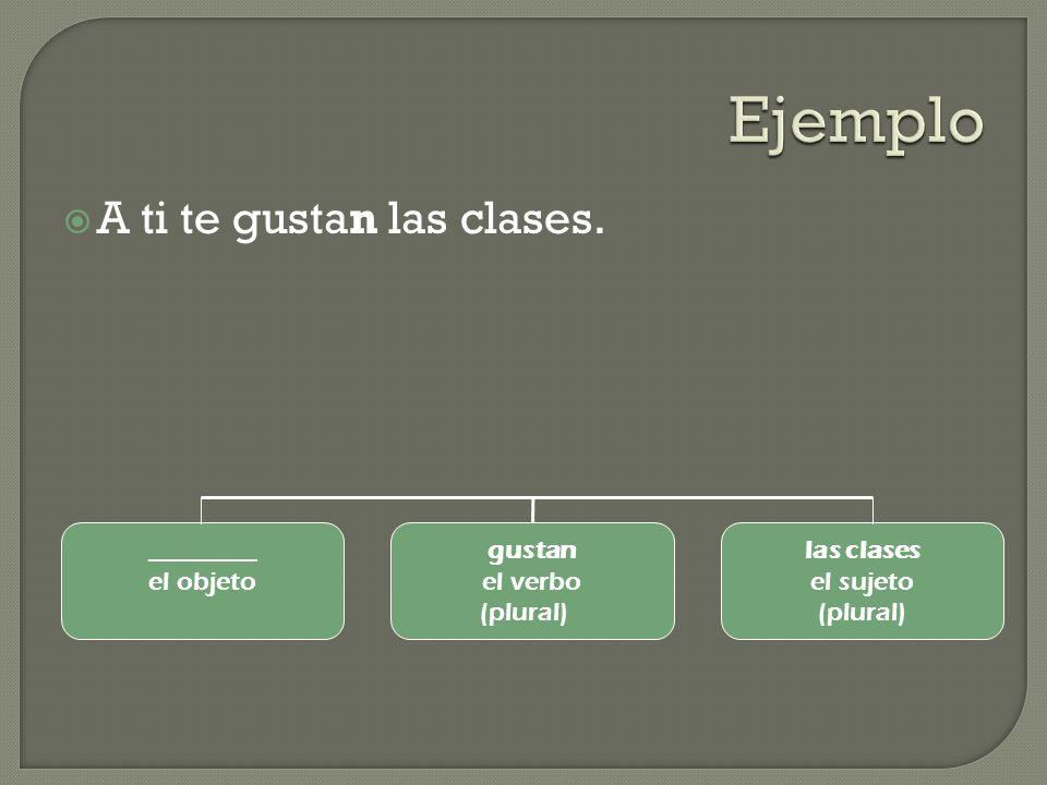 Ejemplo A ti te gustan las clases. ________ el objeto gustan el verbo