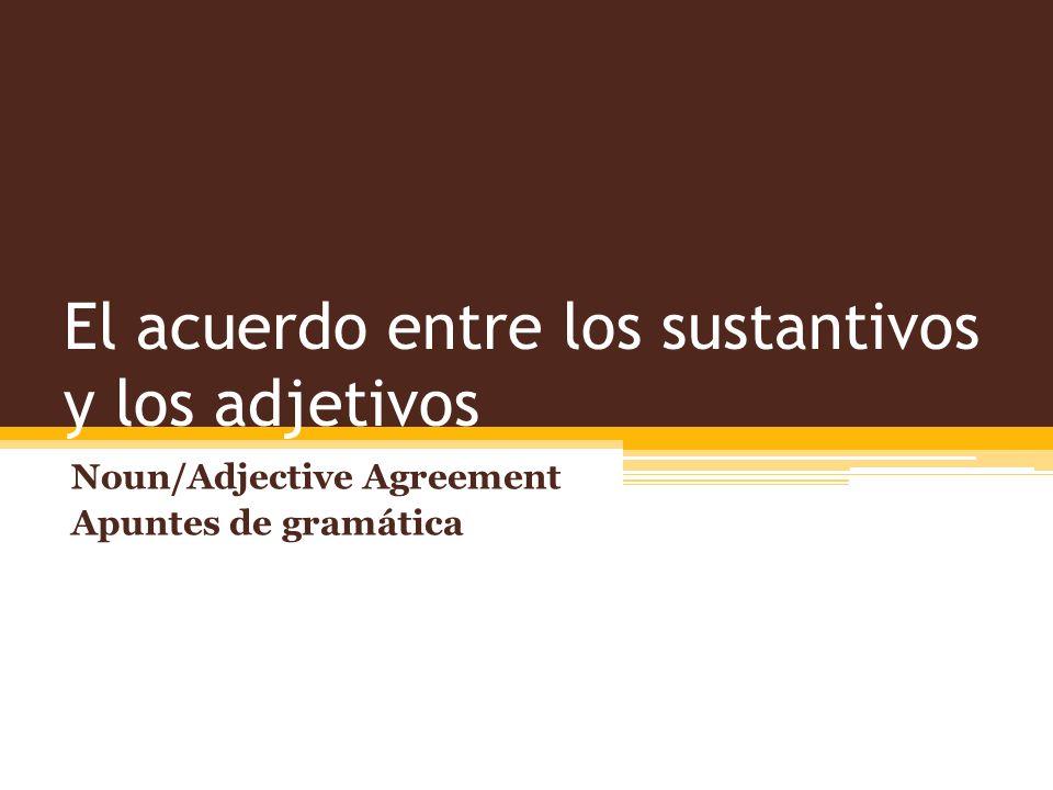 El acuerdo entre los sustantivos y los adjetivos