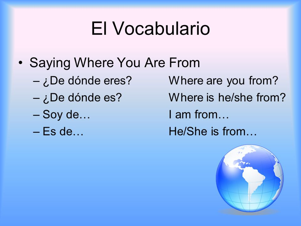 El Vocabulario Saying Where You Are From