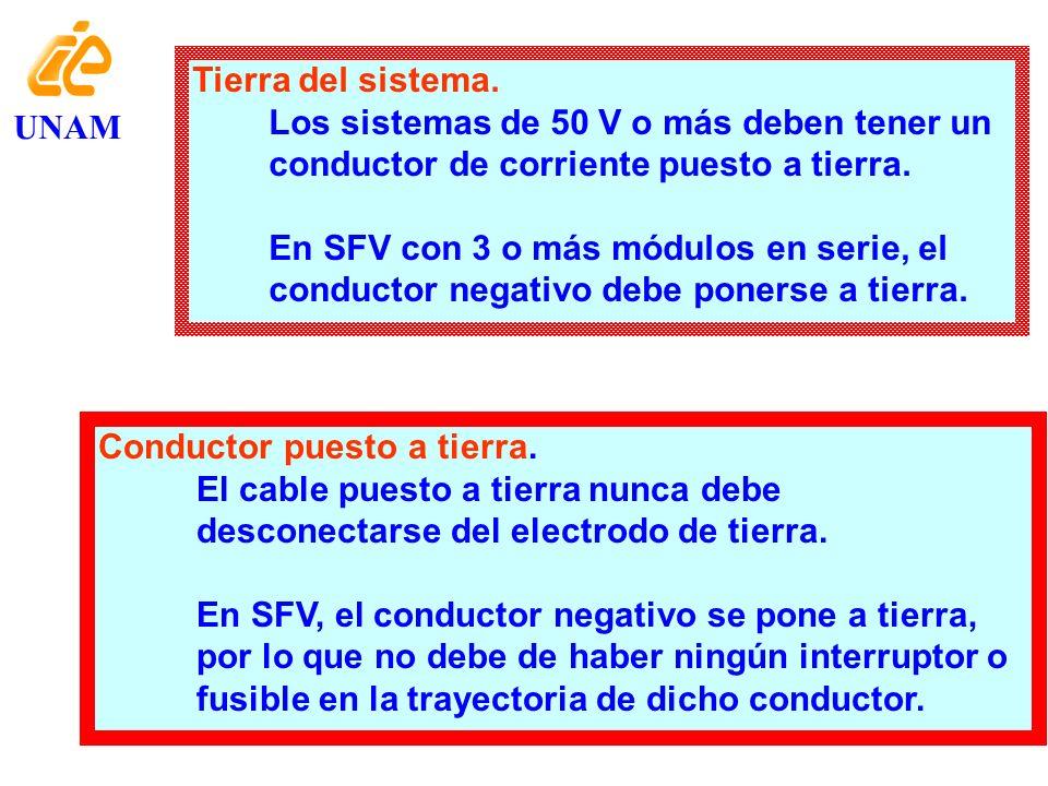 Tierra del sistema. Los sistemas de 50 V o más deben tener un conductor de corriente puesto a tierra.