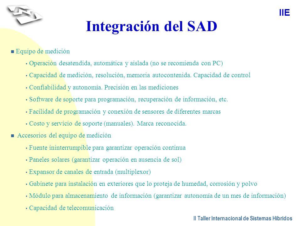 Integración del SAD Equipo de medición