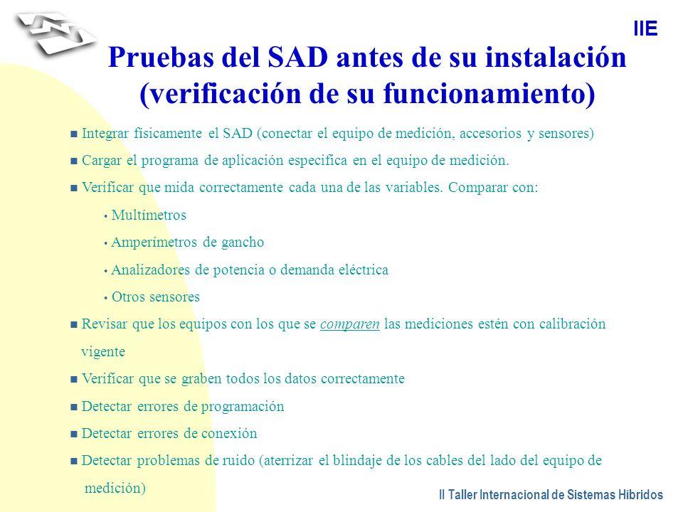 Pruebas del SAD antes de su instalación (verificación de su funcionamiento)