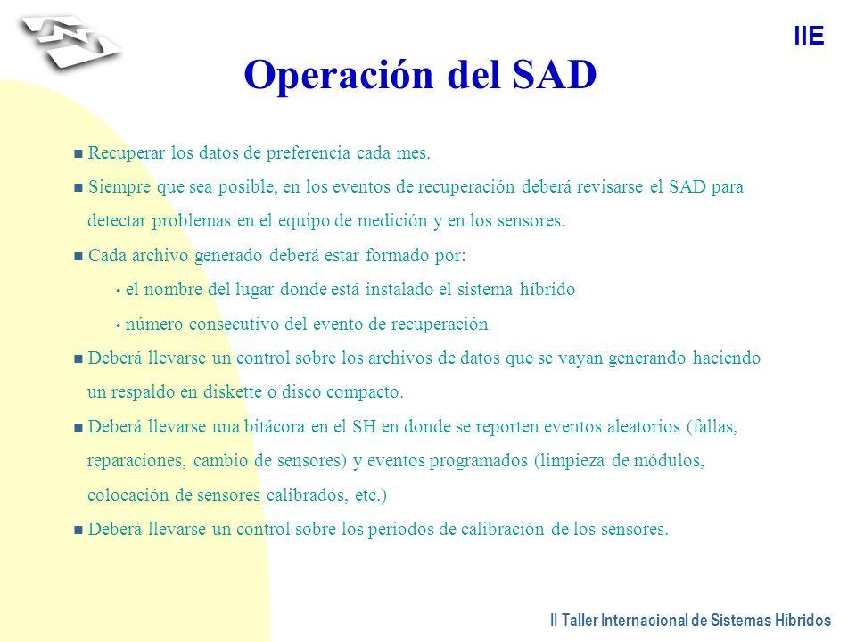 Operación del SAD Recuperar los datos de preferencia cada mes.