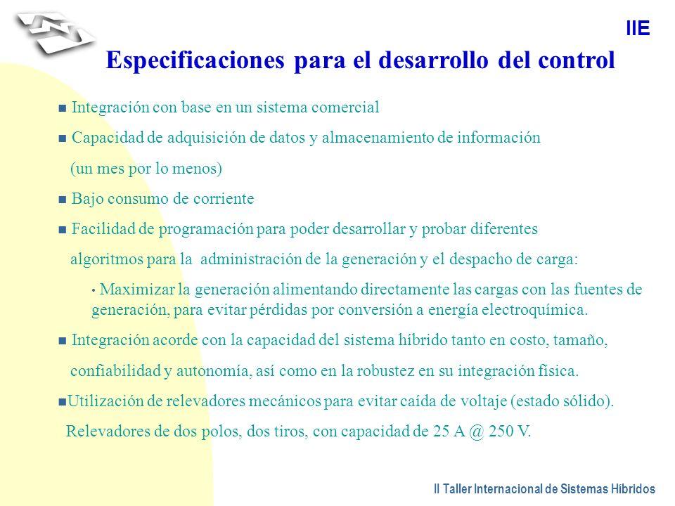 Especificaciones para el desarrollo del control